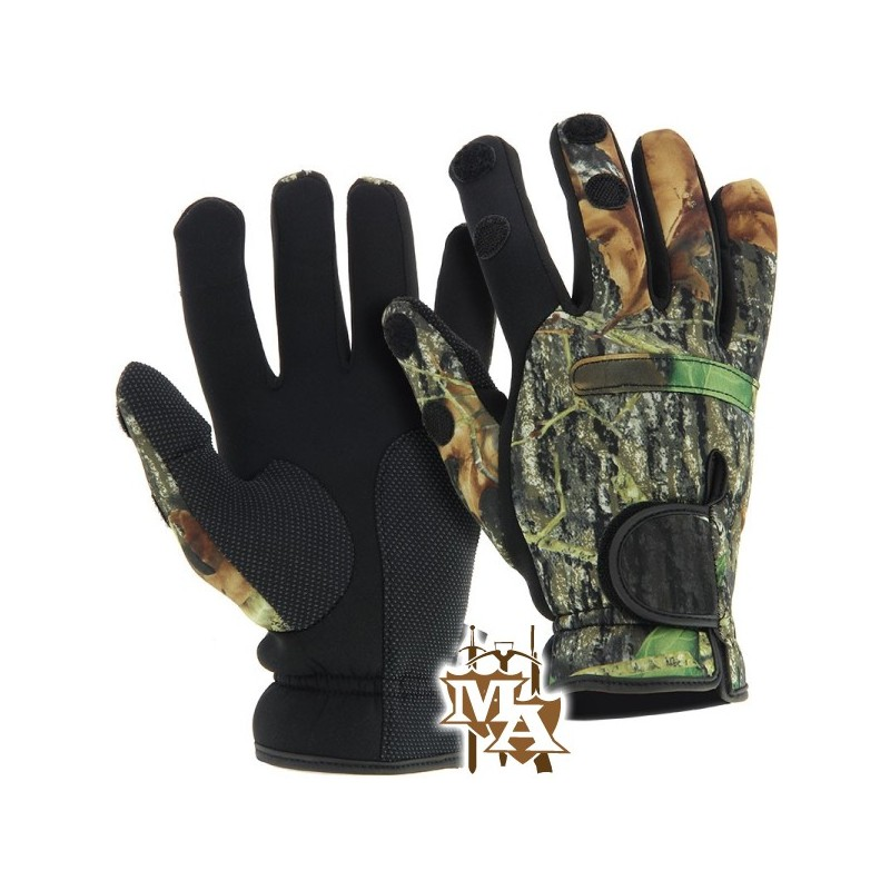 Neoprene camo gloves folding fingers fishing shooting for Neoprene fishing gloves