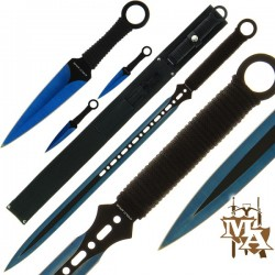 3pc Blue Machete and Throwing Knife Set (200)