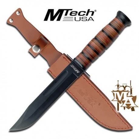 12'' Leather Handle MTech Fixed Blade Knife KA-Bar Style