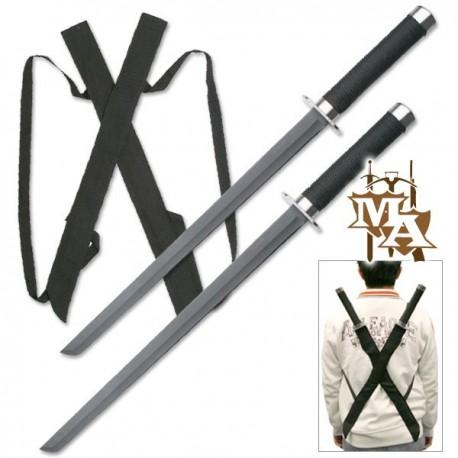 Black Twin Ninja Sword Set 25.5 Inch Overall Deadpool Style HK-1456