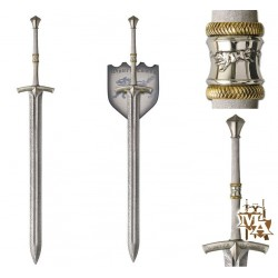 Game of Thrones Ice of Eddard Stark Style Sword with Display Wall Plaque
