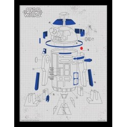 Star Wars The Last Jedi R2-D2 Exploded View Framed 30 x 40cm Print