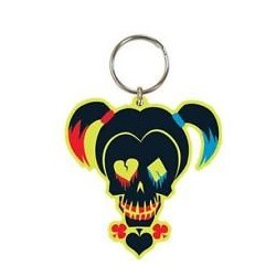 Suicide Squad Harley Quinn Skull Rubber Keychain / Keyring