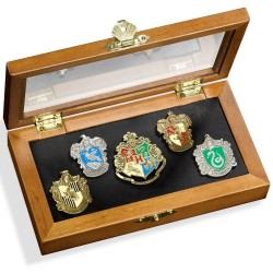Hogwarts House Pins in Display Case Noble Collection